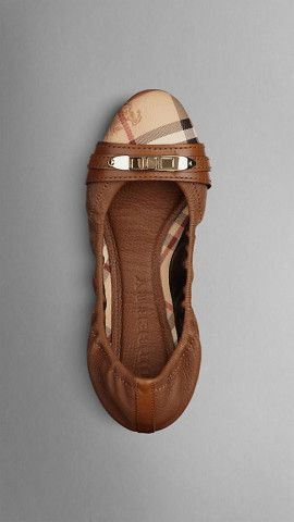 Haymarket Check Leather Ballerinas from us.burberry.com