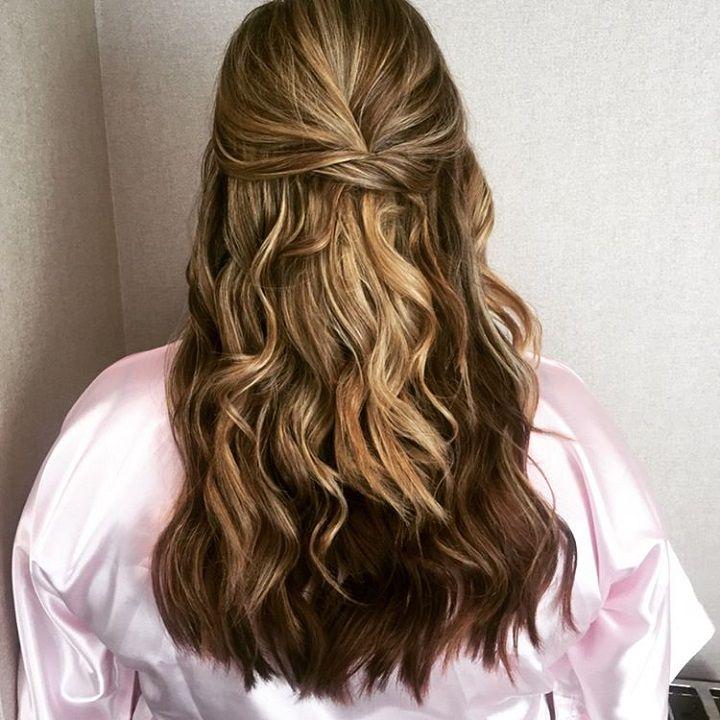 Prettiest Half Up Half Down Hairstyle For Romantic Brides Curls For Medium Length Hair Ball Hairstyles Loose Curls Medium Length Hair