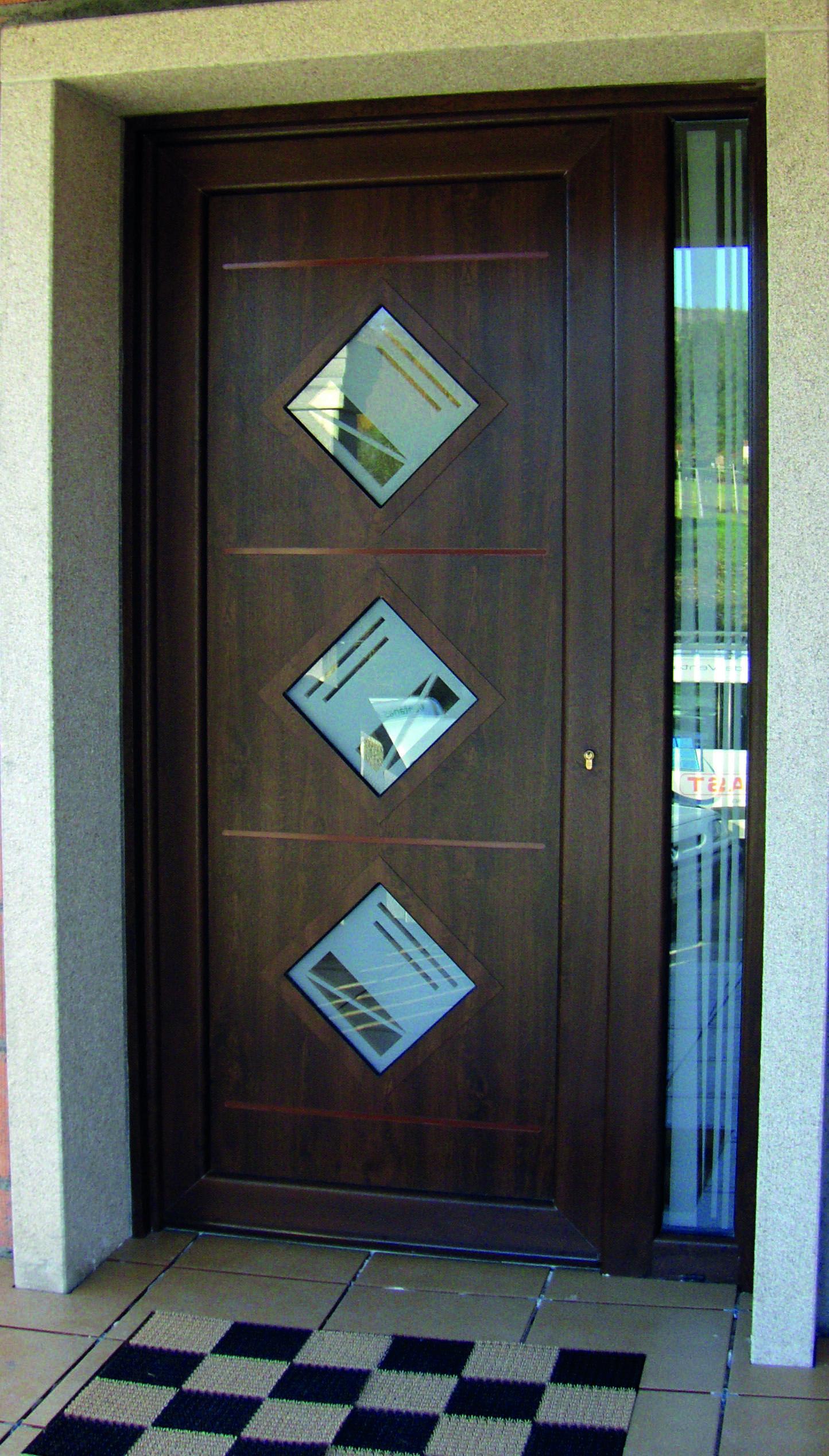 AVANT INDO Rada aluminio con folio simil madera + vidrio mate ...
