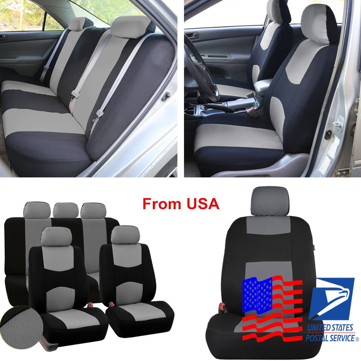 Nice Amazing 5-Seats Car Seat Covers Mesh Polyester Front+Rear Cover ...