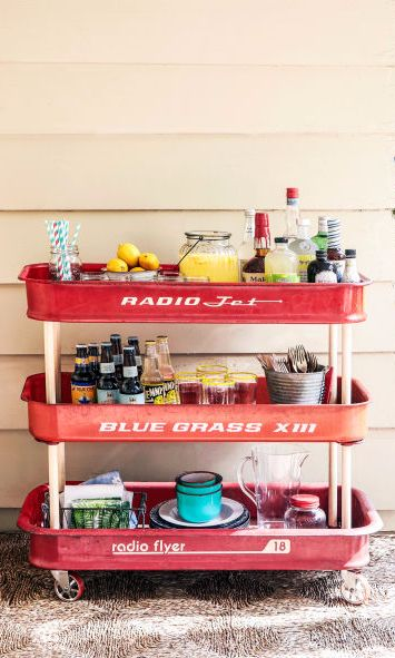 Remove Wheels And Axles From Three Little Red Wagons Crete A One Of Kind Bar Cart