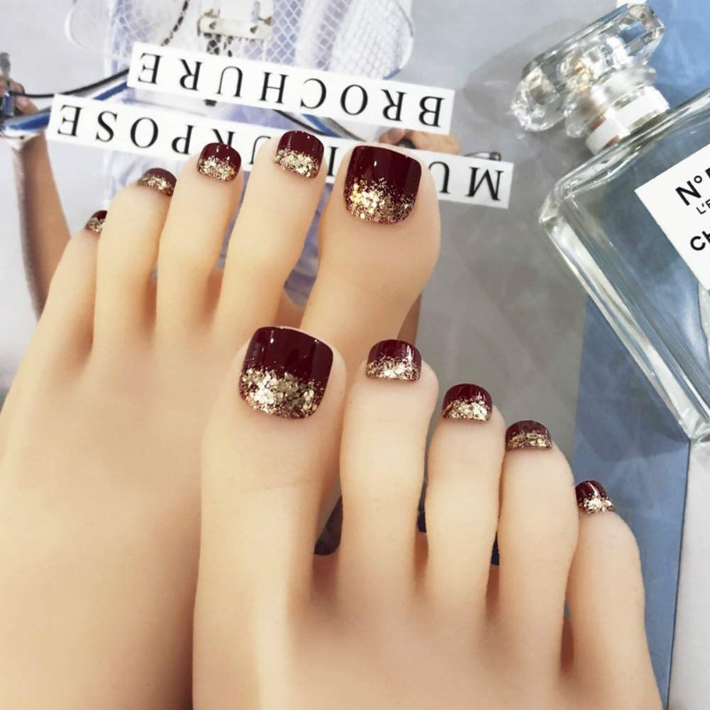 24 Pcs False Toe Nail Acrylic Toenails For Women And Girls Glitter Decorated Dark Red Toe Nail Tips Full Cover Press On F Fake Toenails Toe Nails Black Glitter