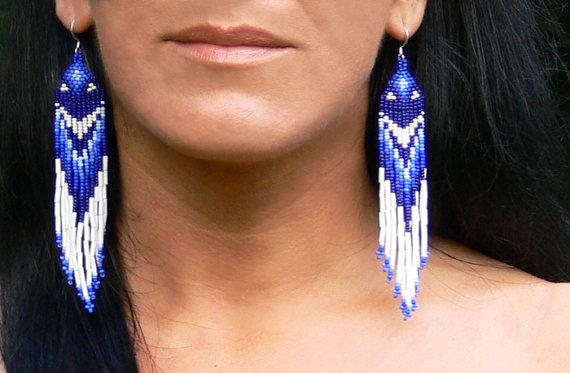 Blue and White Earrings. Native American Beaded by Burvesrotas, $34.00