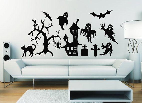 Wall Decals Happy Halloween Home Black Cat Ghost Bat Decal Vinyl - Vinyl wall decals home party