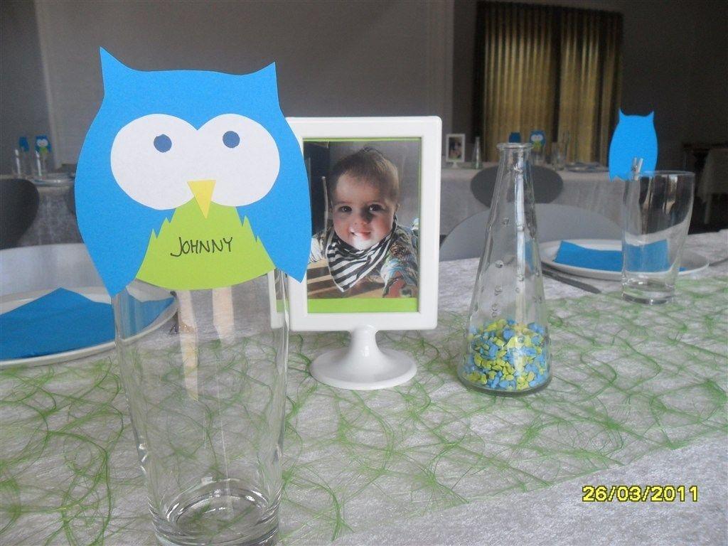 Rigtig sød ugle bordkort til barnedåben