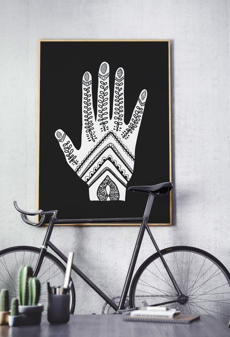Henna Tattoo Printable Wall Decor, Bohemian Decor, Gift ... on Modern Boho Wall Decor  id=93988
