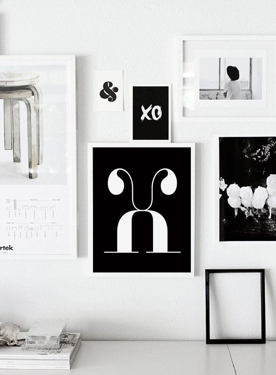 X letter scandinavian poster printable wall art nursery print letters typographic print black and white art