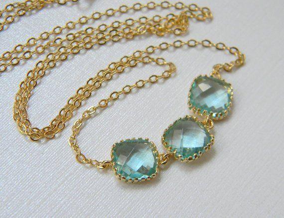 Bridesmaid Necklace - Gold Necklace - Aquamarine Necklace - Tri Color - Gift - Bridal Necklace - Boho Necklace. $27.00, via Etsy.