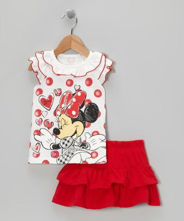 b49cf6f0d2af Take a look at this White   Red Polka Dot Minnie Top   Skirt - Toddler by  Minnie s Bow-Tique on  zulily today!