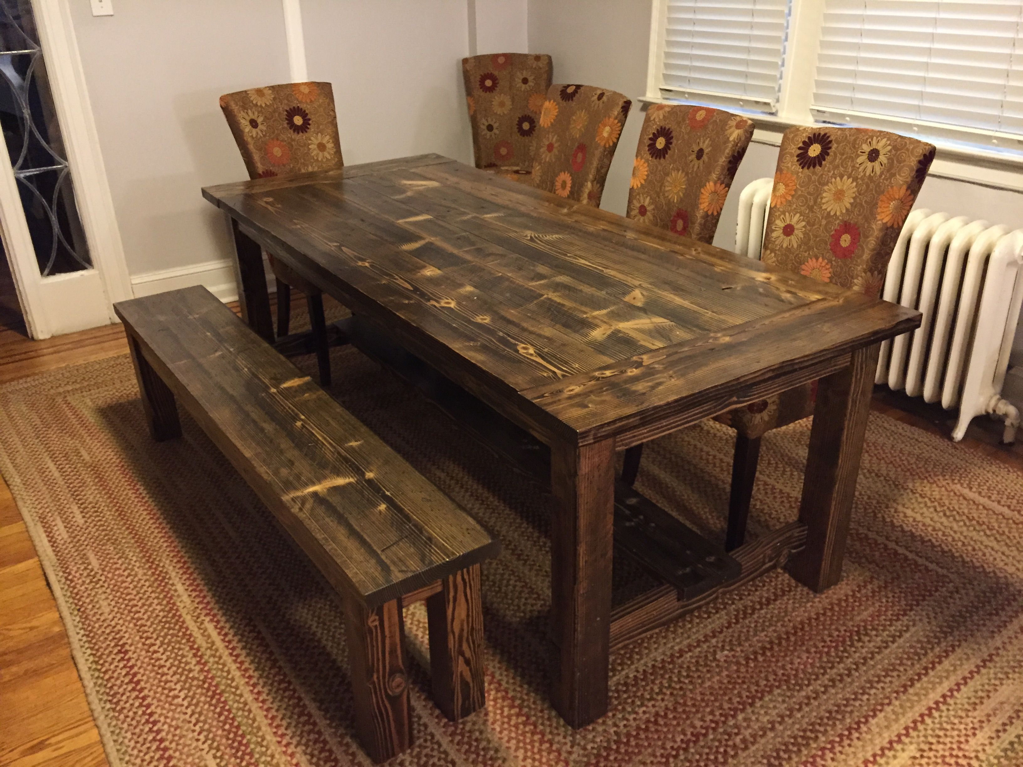 Solid Wood Farmhouse Table With Stretchers And Breadboards. Matching Wooden  Bench. Distressed Dark Walnut. Harvest Table. Kitchen Table. Dining Table.