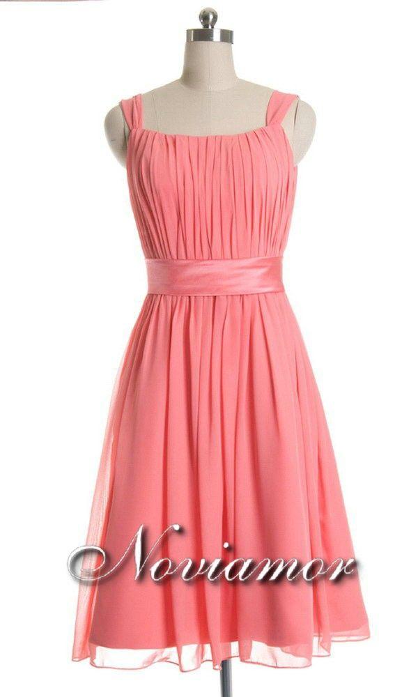 Vestido de Damas de Honor Corto de con Adorno de Lazo DH1060 $241.99 ...