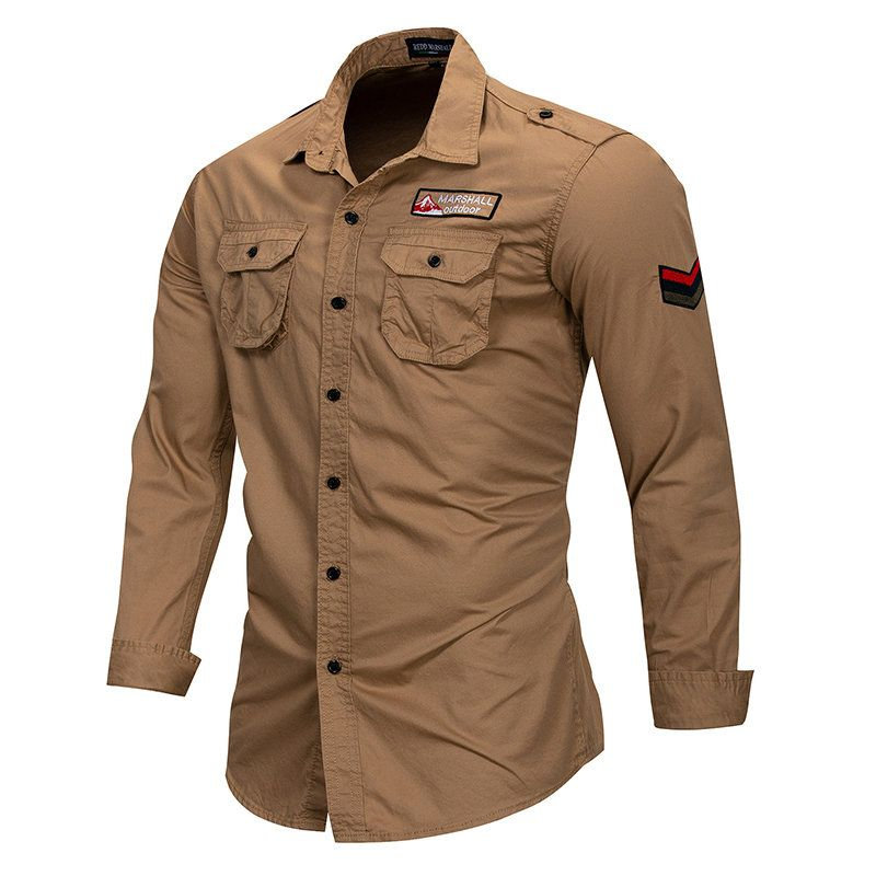 Mens 100 Cotton Slim Pure Color Long Sleeve Turn Down Collar Pockets Casual Shirts Military Shirts Military Shirts Men Casual Shirts