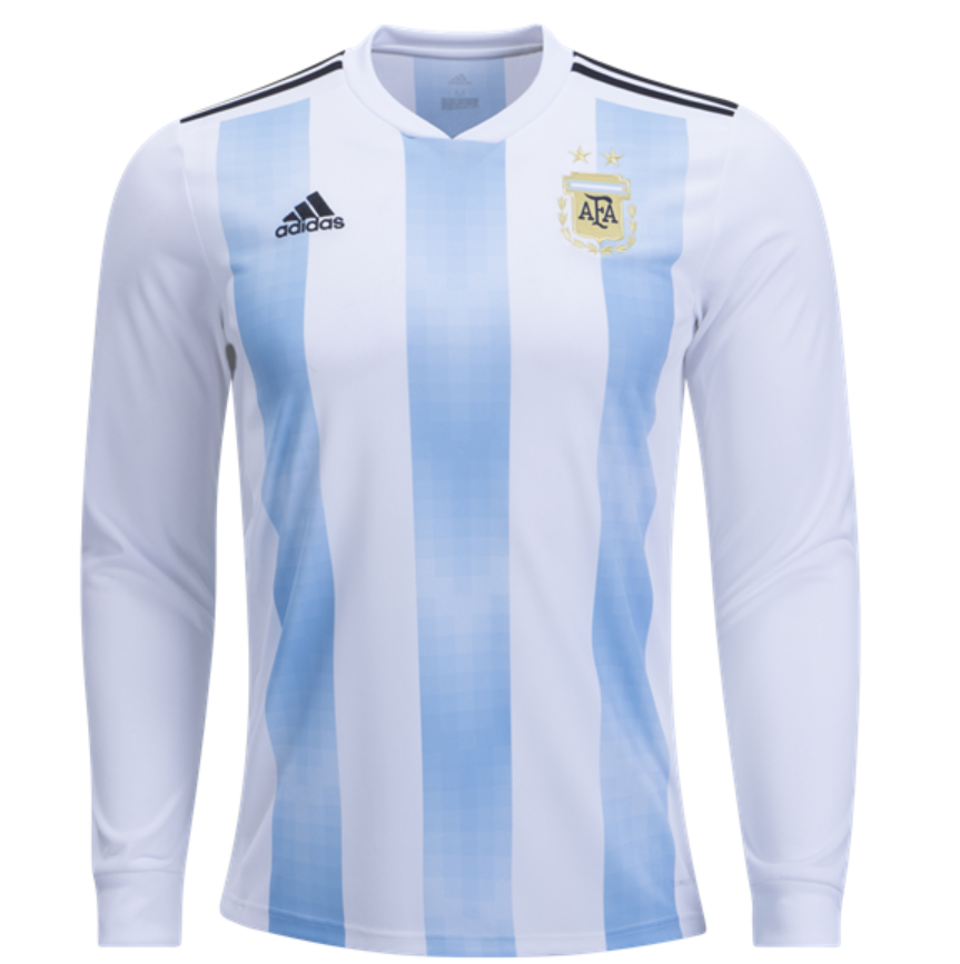 Argentina 2018 World Cup Home Men Long Sleeve Soccer Jersey Personalized  Name and Number - zorrojersey 761a57889