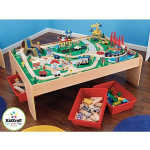 KidKraft Wooden Train Table with 3 Bins and 120-Piece Waterfall ...