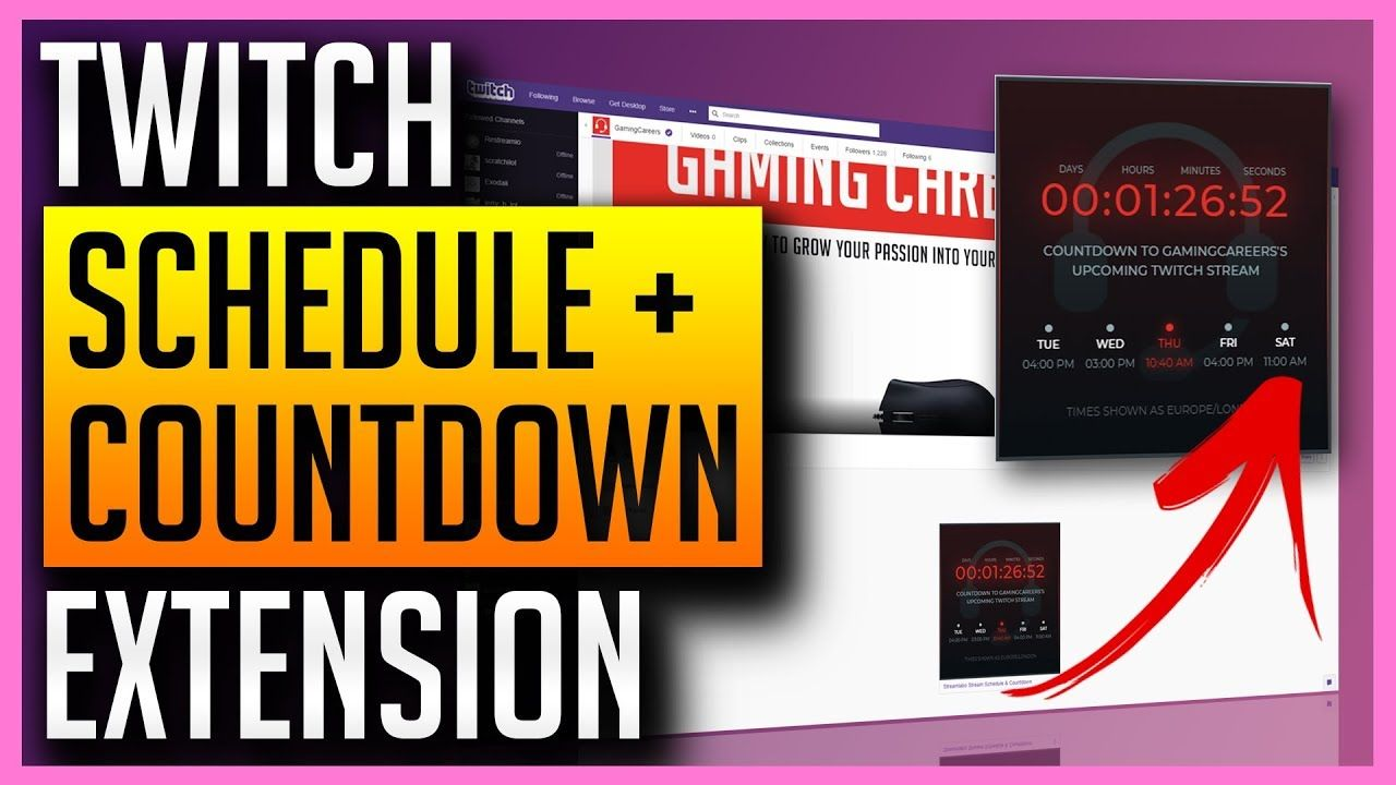 Live countdown stream schedule in your twitch panels