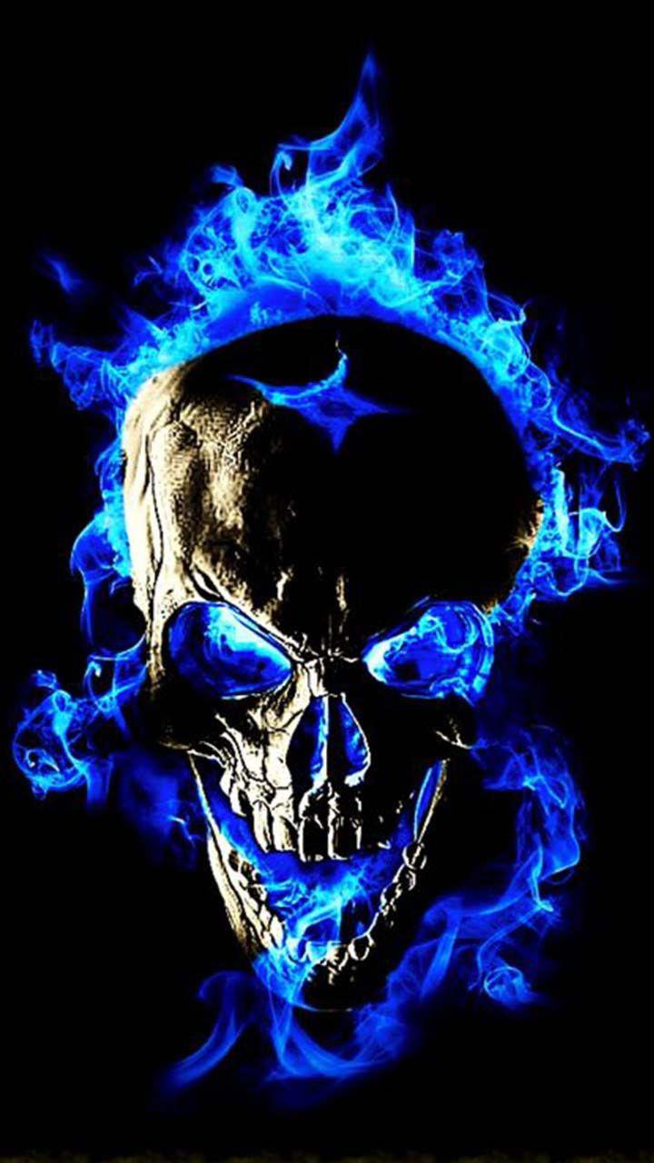 3d Wallpaper Cm Launcher Blue Flame Skull Fire Coolest Skull Wallpaper For Free