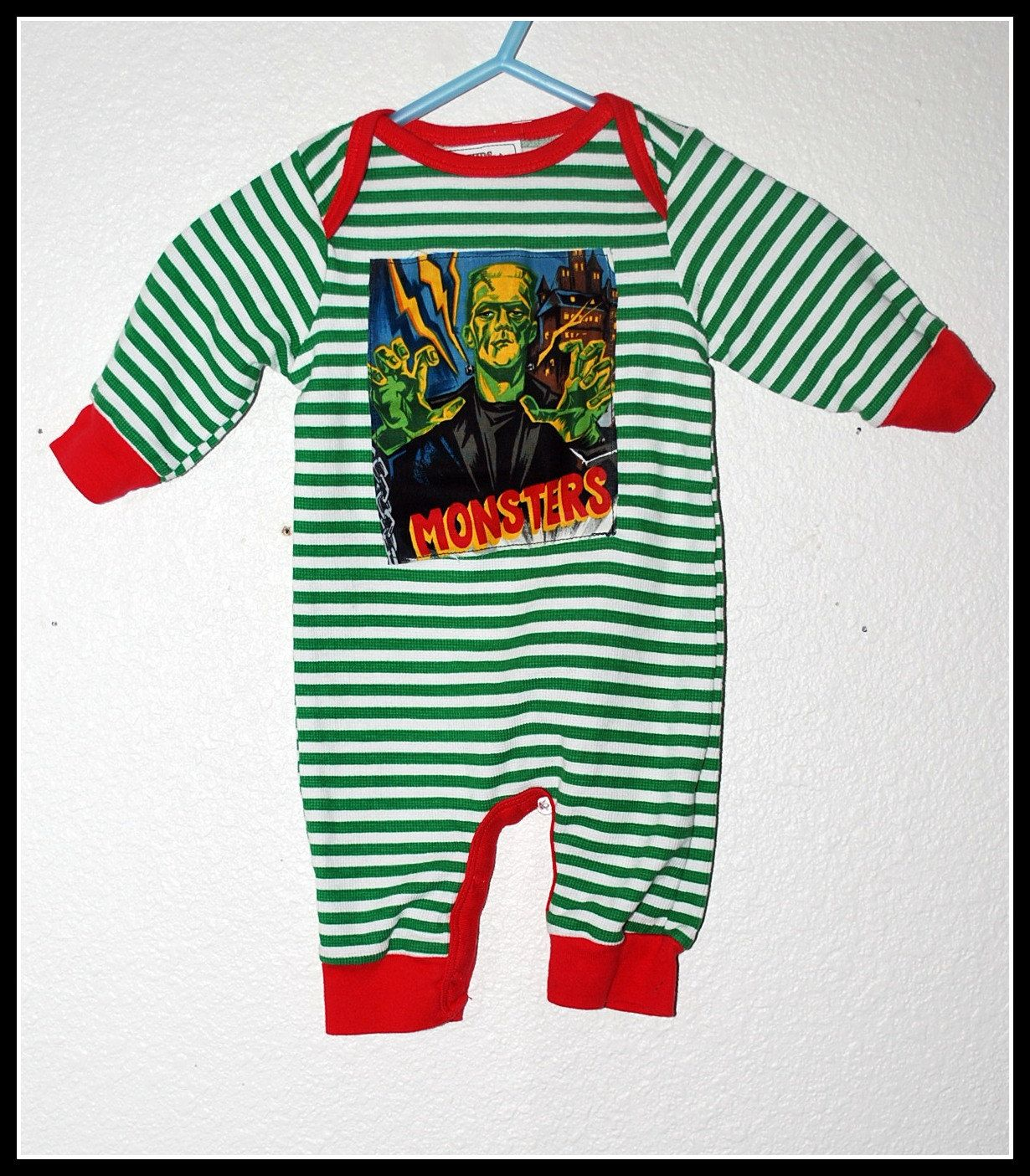 Boys Rockabilly Green & Red Stipes with Frankenstein Print Size new born 0-3 months by DollfaceBettys on Etsy
