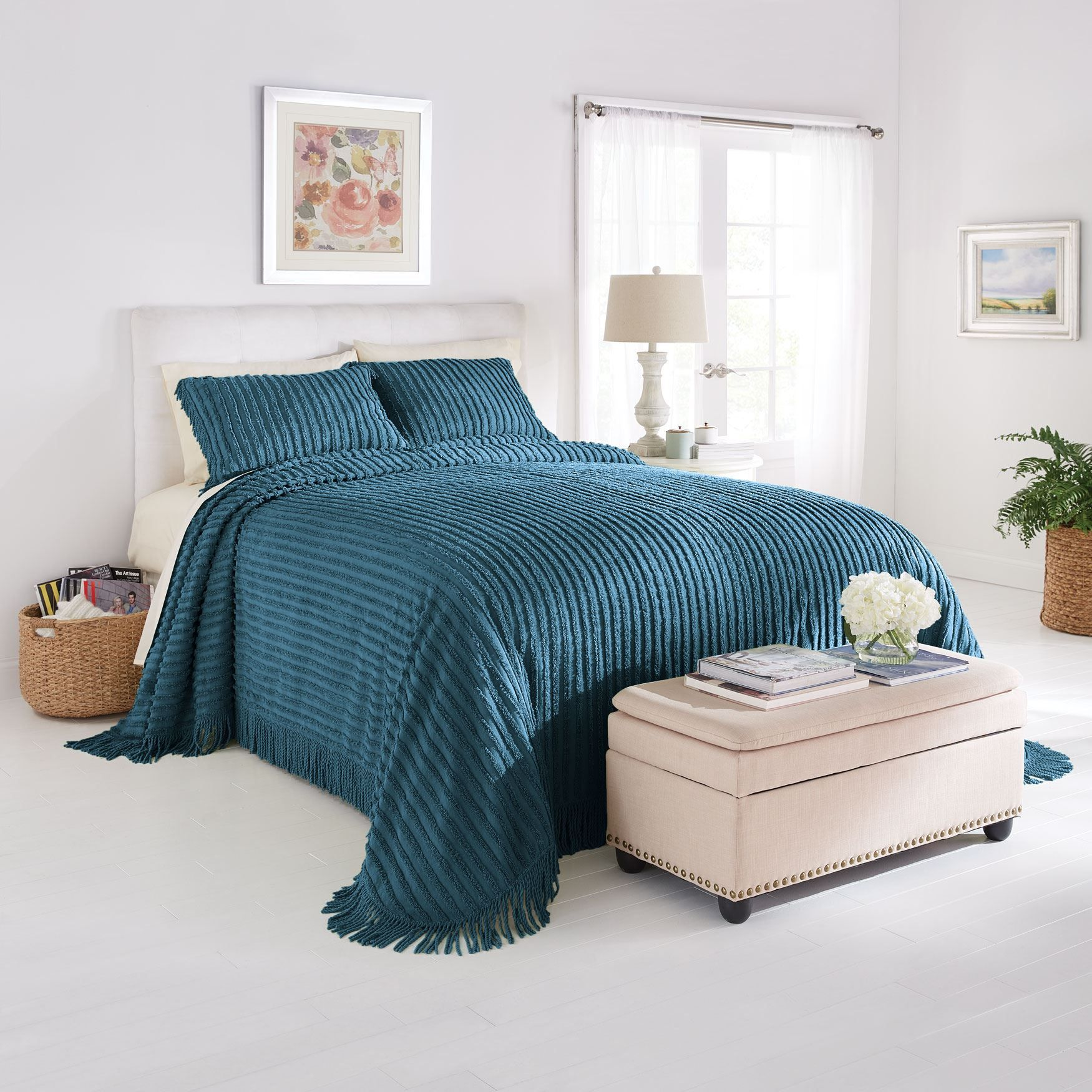 Chenille Bedspread Antique Blue Chenille Bedspread Bed