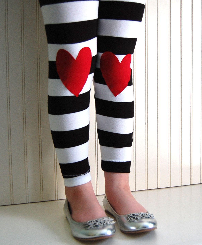 542768f422cb5 Heart+Leggings+Black+and+White+Wide+Stripe++Girls+by+thetrendytot,+$28.00