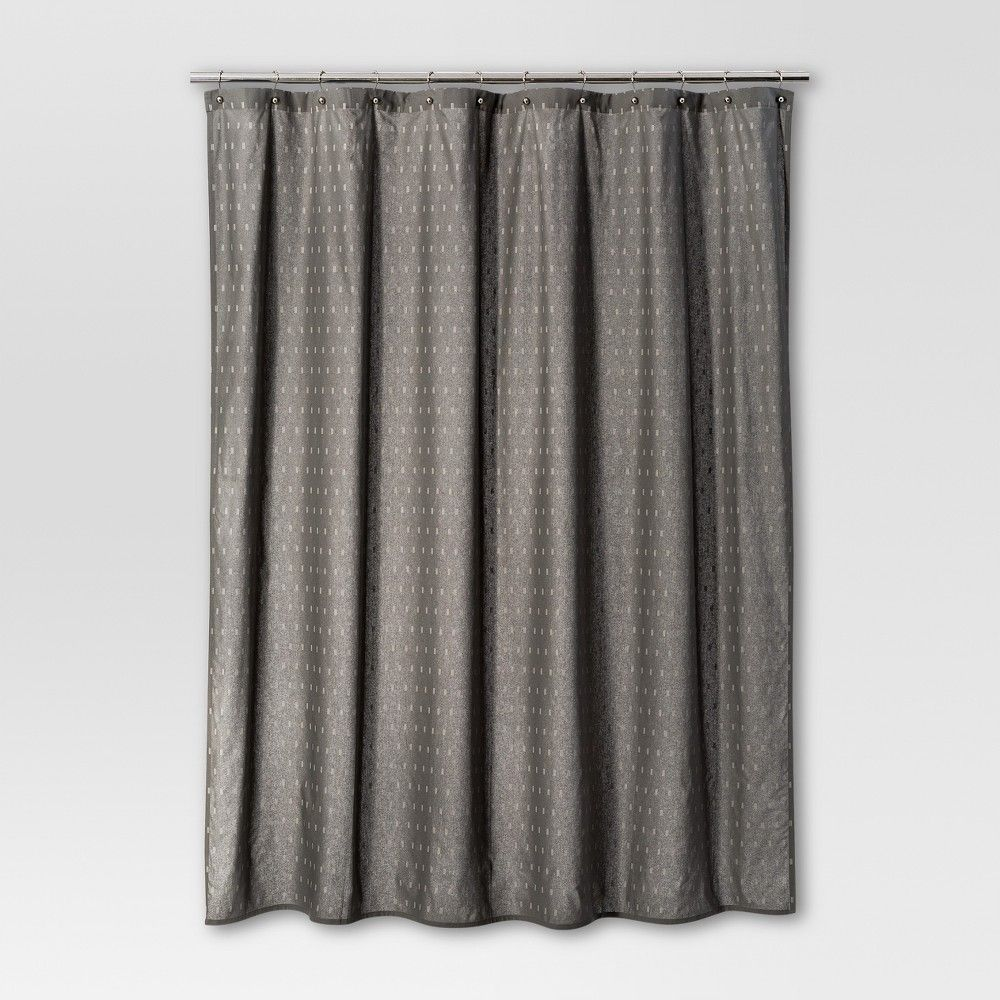 Geometric Shower Curtain Radiant Gray Threshold Curtains
