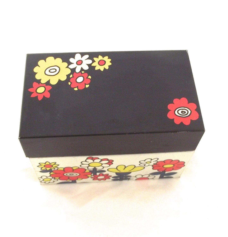 Bright flowers recipe tin vintage ohio art card file box