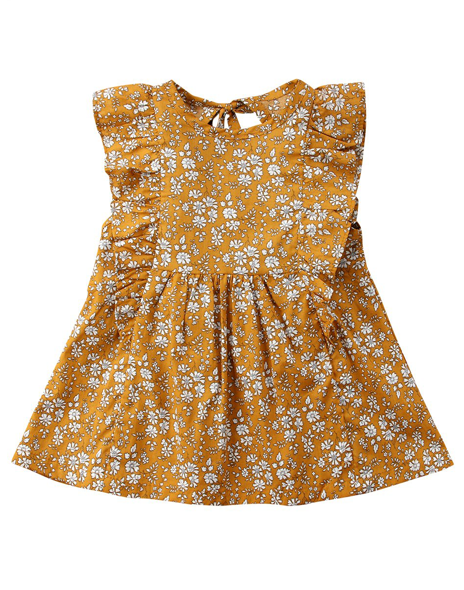 ae147e322f63e Mustard Floral Dress | Dress For Your Little Princess | Dresses ...