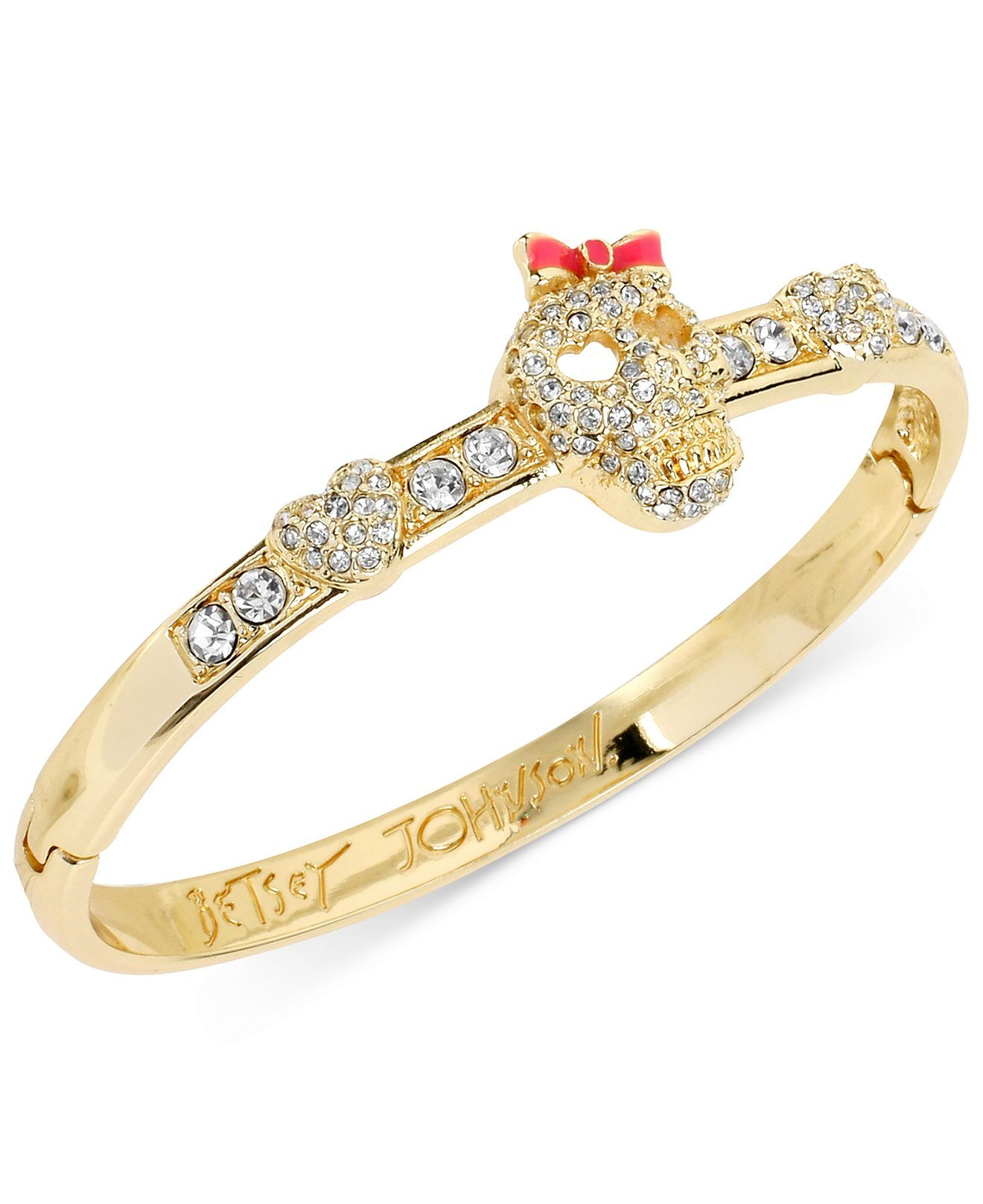 Betsey Johnson Gold-Tone Crystal Skull Accent Bangle