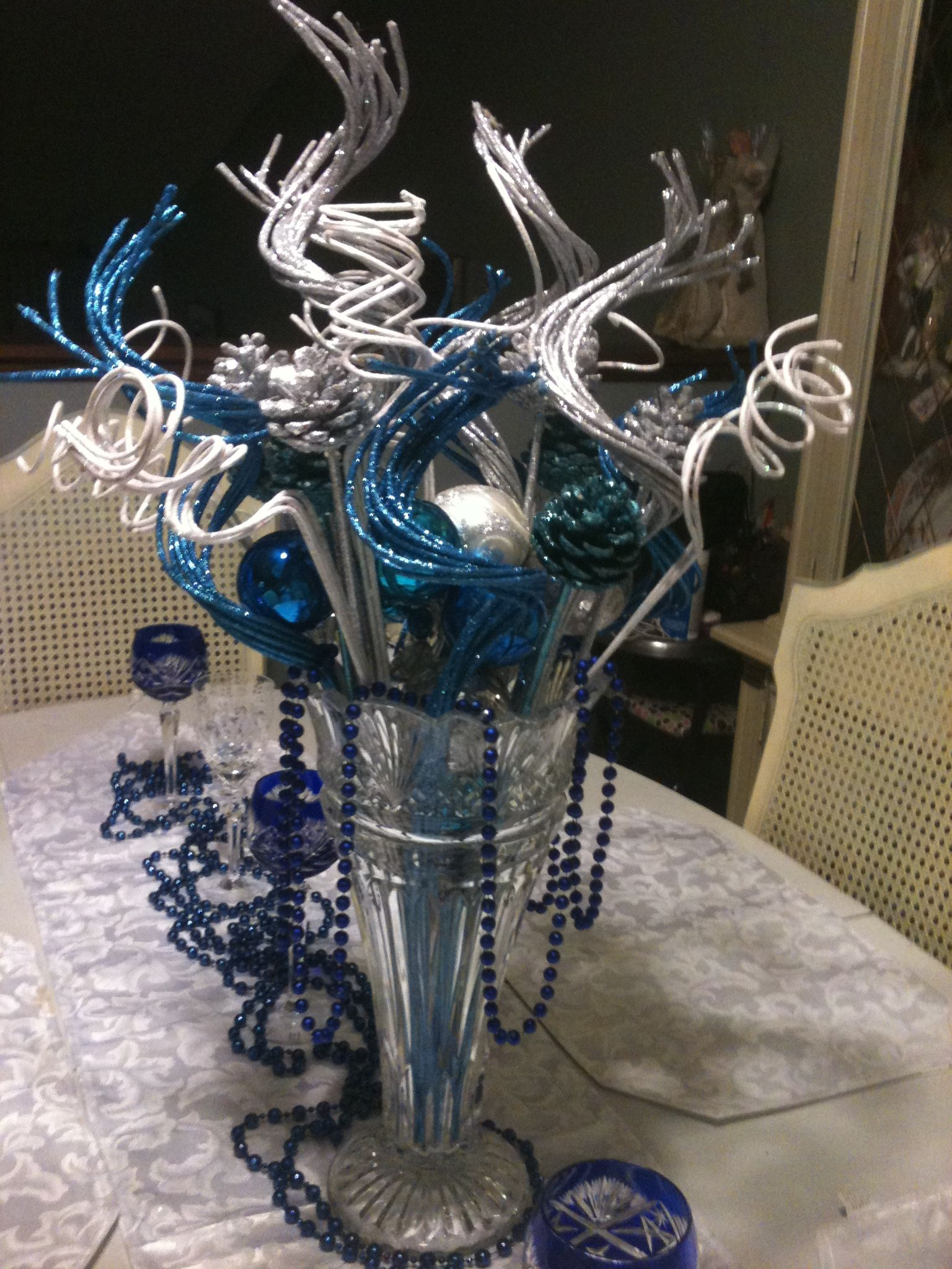 2012 Holiday Table Centerpiece Blue Amp Silver In 2019