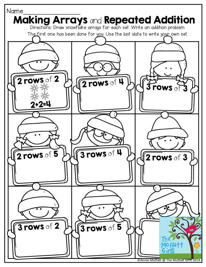 January No Prep Packets Repeated Addition Teaching Multiplication Array Math Array worksheets for 2nd graders