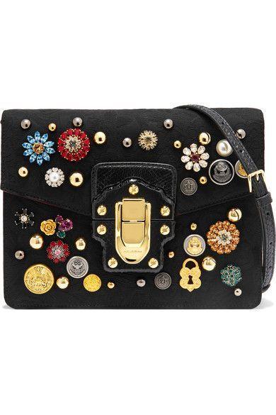 22536fa8ee Dolce Gabbana Black brocade and watersnake Flip lock-fastening front flap