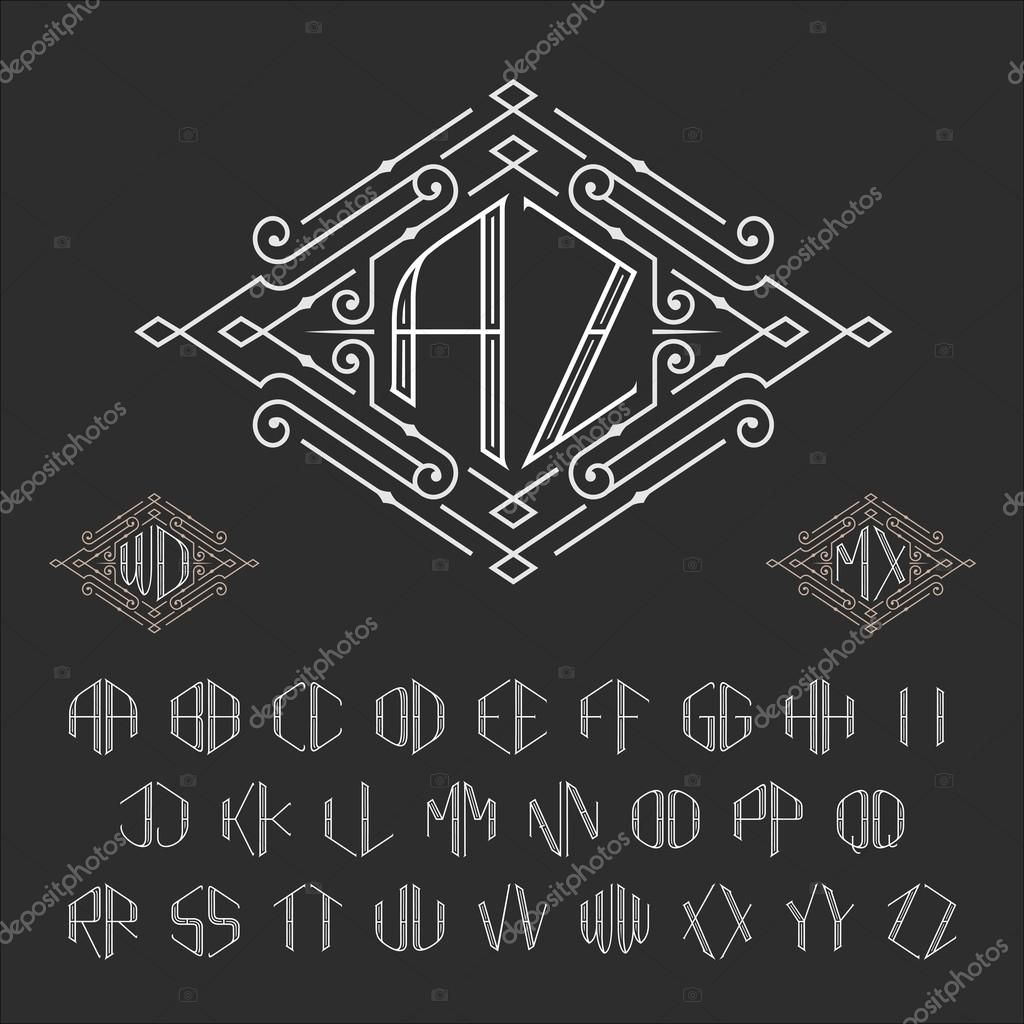 Two letters monogram template. Luxury vector set of stylish ...