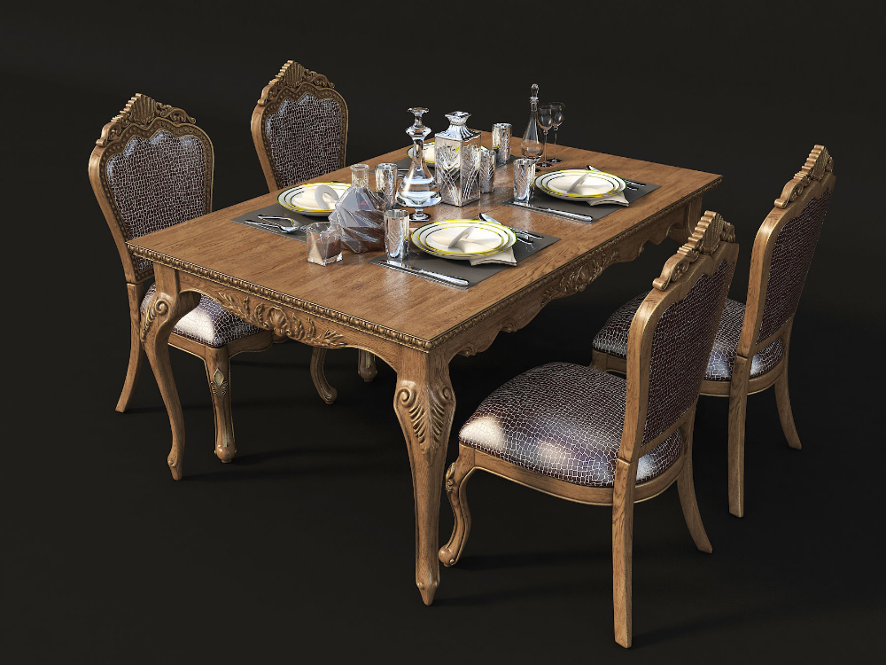 Classic Dinning Table Chair Set 3d Model Dinning Table Dinning Table Design Table And Chairs