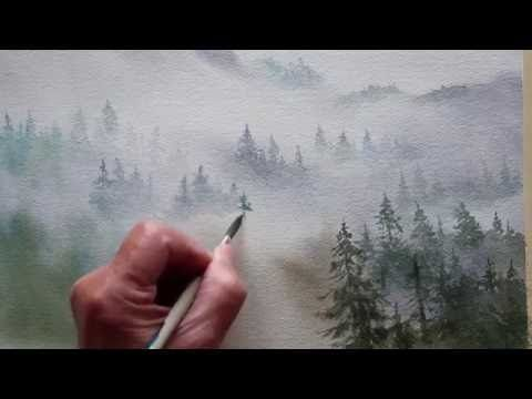 Watercolor Trees In The Mist Youtube Painting Tutorial
