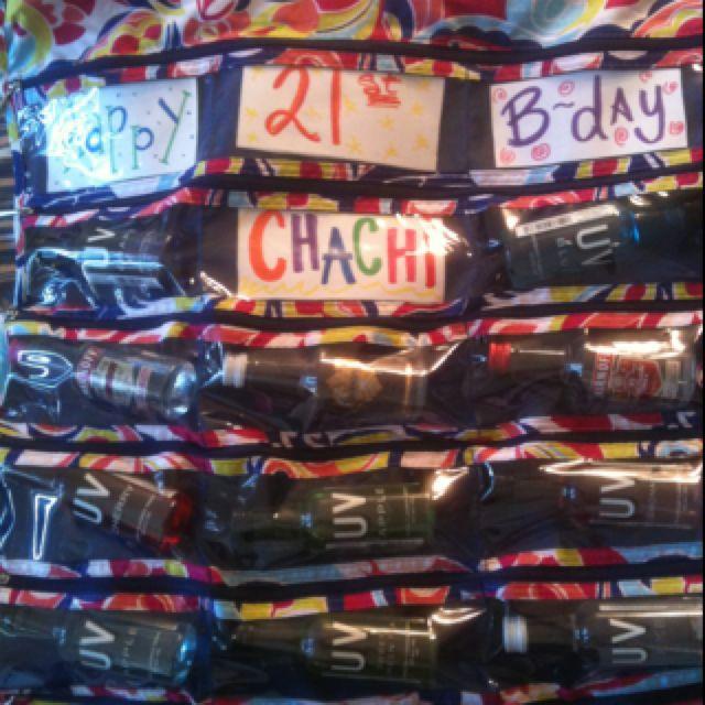 21st Bday Idea Using Jewelry Closet Hanger!
