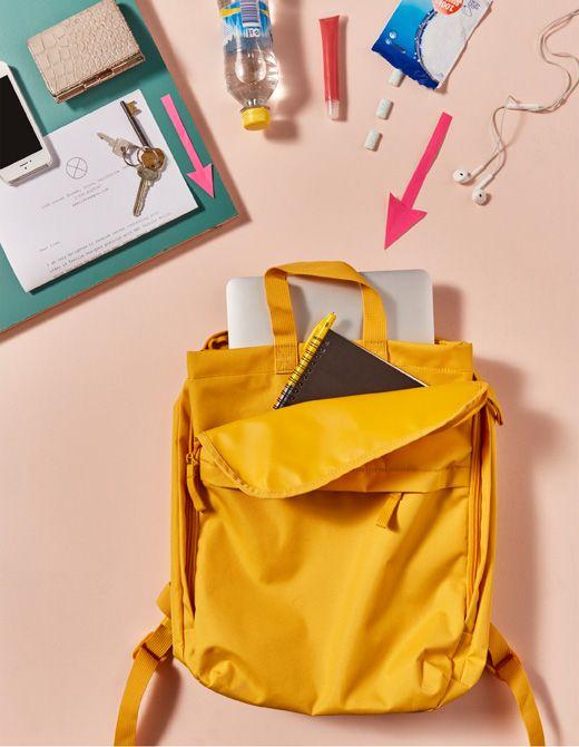 Das Wichtigste für die Uni, verpackt in STARTTID Rucksack in Gelb - designer hangesessel satala fuss