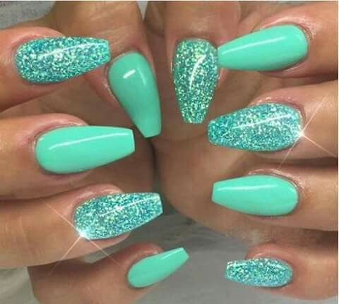 coral blue set  nail designs summer acrylic coffin nails