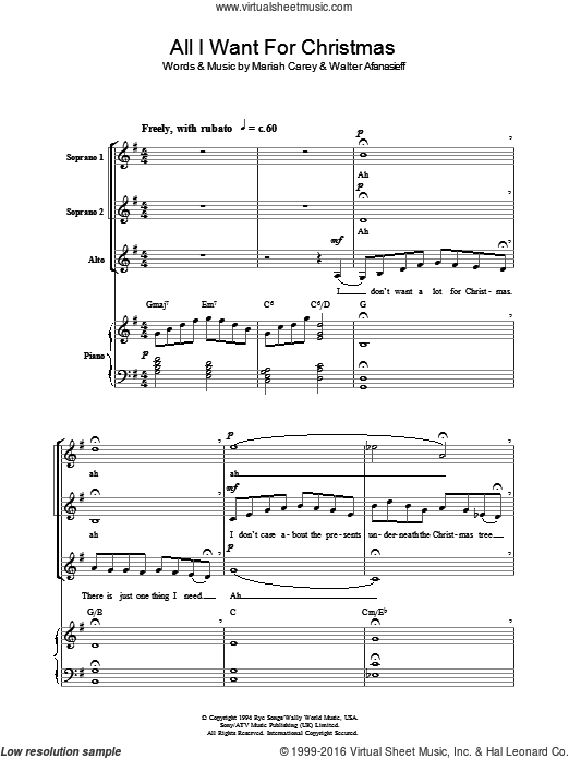 All I Want For Christmas Is You Sheet Music Pdf.Carey All I Want For Christmas Is You Arr Berty Rice