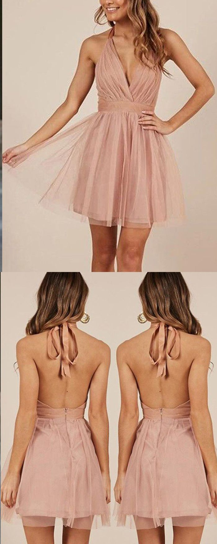 Halter simple blush pink tulle ruched party dress hd in