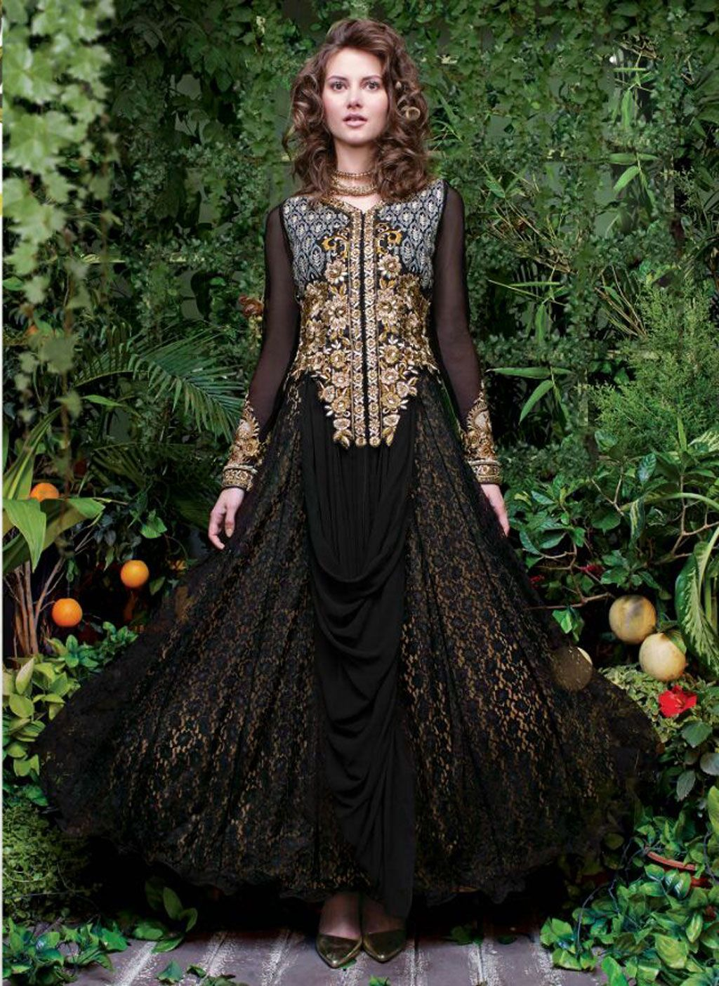 black raschel net designer anarkali suit still need a