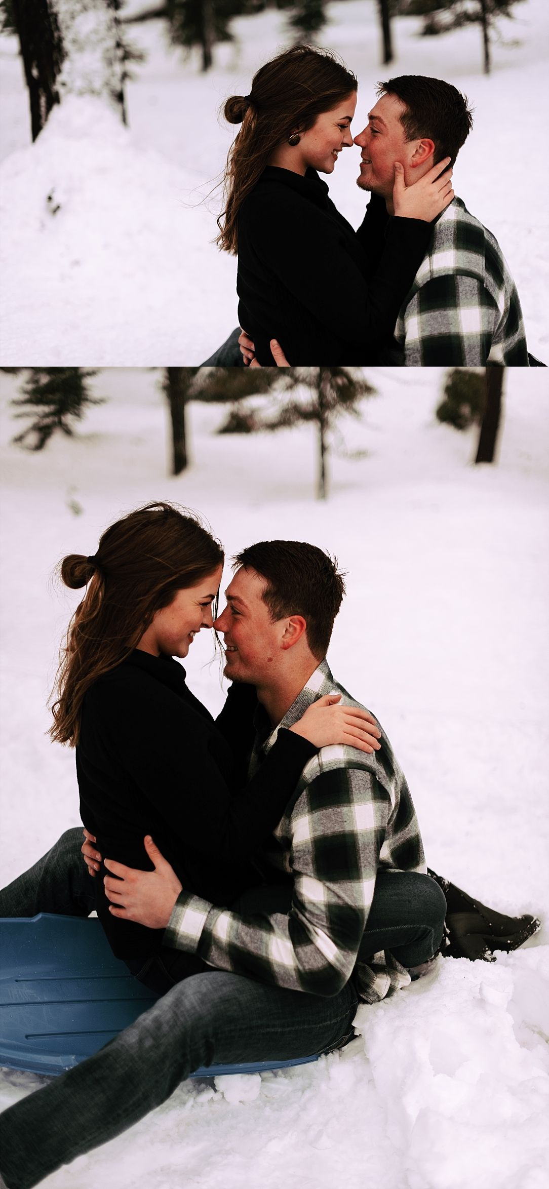 playful snow couple session