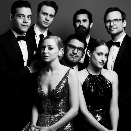 Sam Esmail and the Mr. Robot cast pose for an awardees portrait after winning the Golden Globe for Best Television Series - Drama during the 73rd Annual Golden Globe Awards at the Beverly Hilton Hotel in Beverly Hills, California on January 10, 2016.