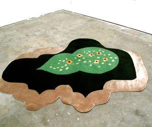 Garden hand-knotted silk/wool rug by artist Michelle Weinberg