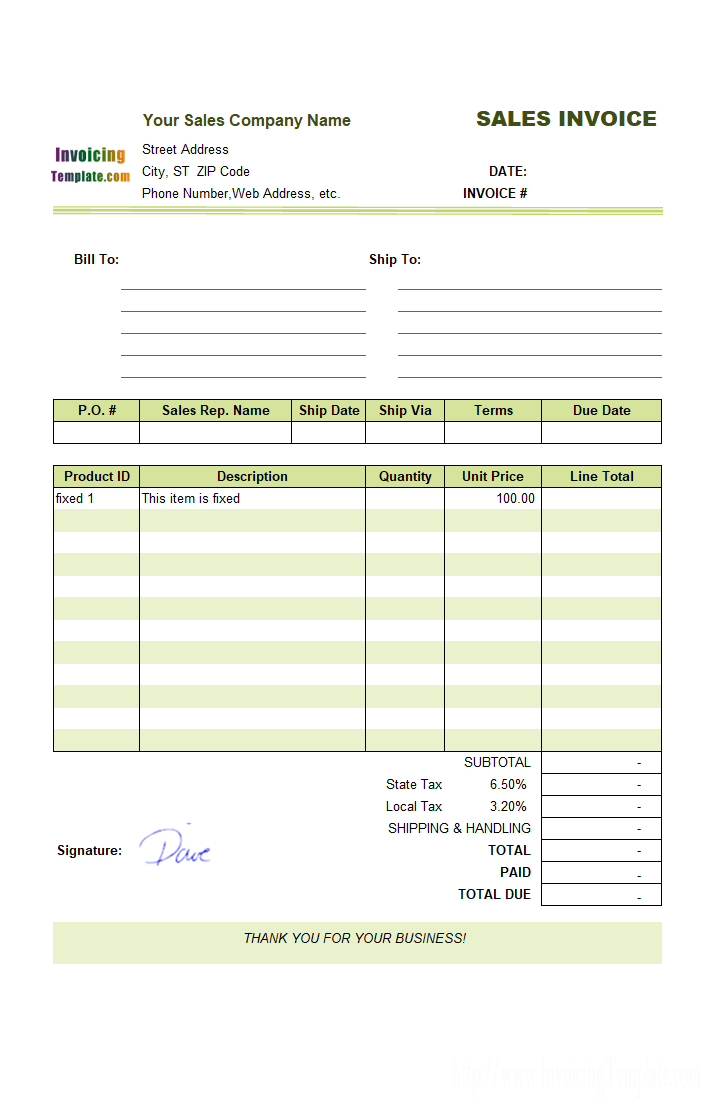 Sample Sales Invoice Template Fixed Items  Invoice