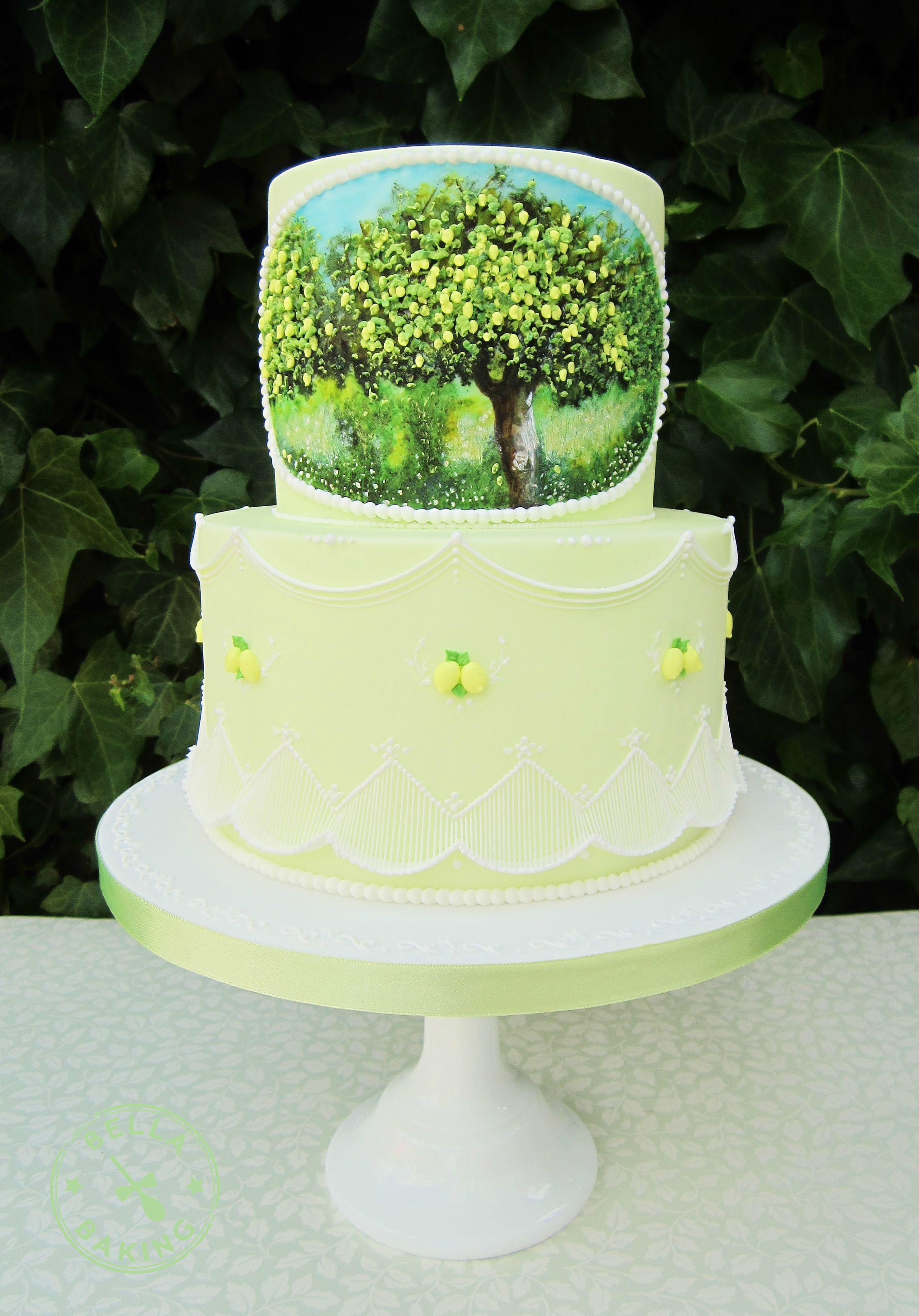 Lemon Tree cake with Royal Icing drop line work, pressure piping ...