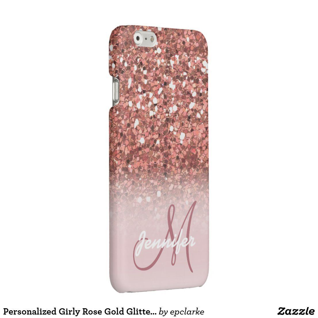 Personalized Girly Rose Gold Glitter Sparkles Name Iphone Case Zazzle Com Sparkly Iphone 6 Cas Sparkle Phone Case Glitter Iphone 6 Case Glitter Phone Cases