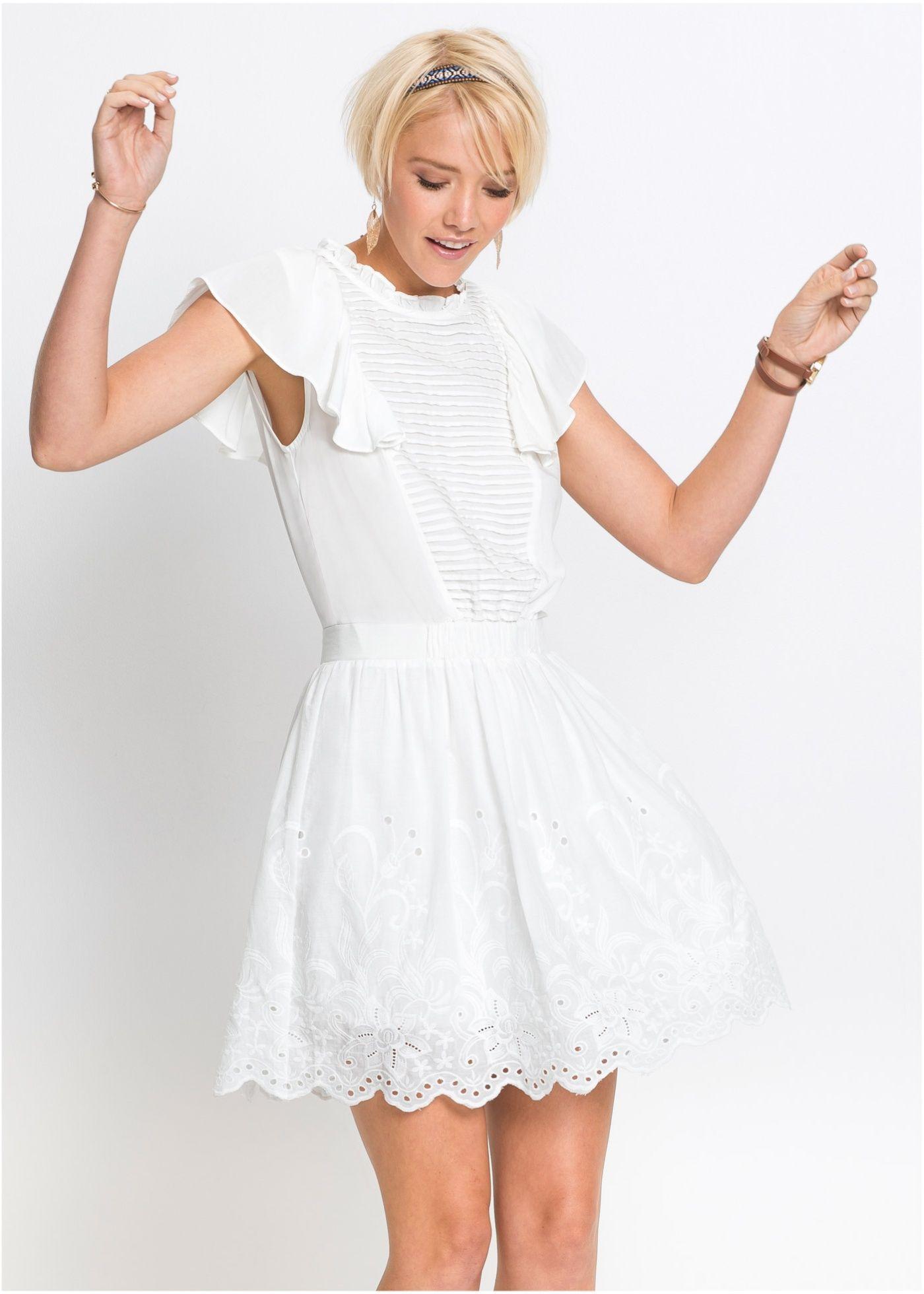 Kleid mit spitze und volants