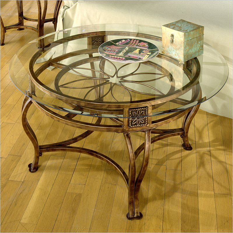Best Hillsdale Scottsdale Round Glass Top Coffee Table In Brown 400 x 300