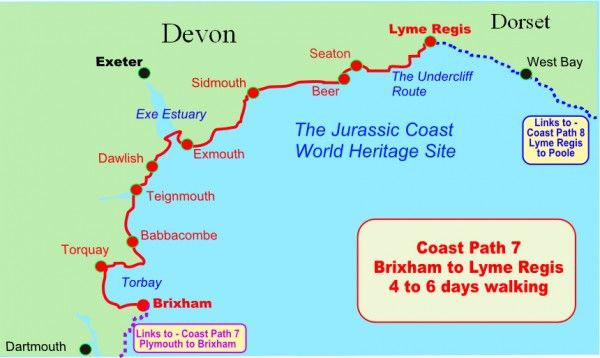 jurassic coast england devon walking map of the south west coast path and jurassic coast uk