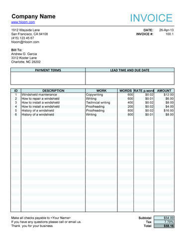 Service Invoice For Article Writers 23400 Downloads Free Invoice Template Hloom Freelance Invoice Invoice Template Word Freelance Invoice Template