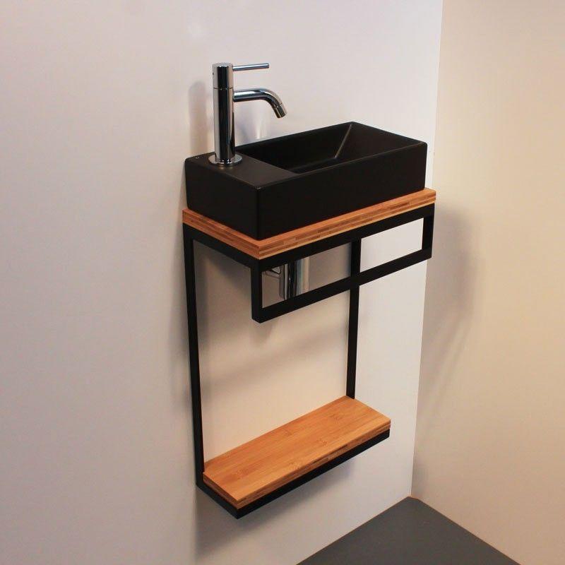Meuble Lave Mains Acier Bois En 2020 Meuble Lave Main Lave Main Wc Idee Deco Toilettes